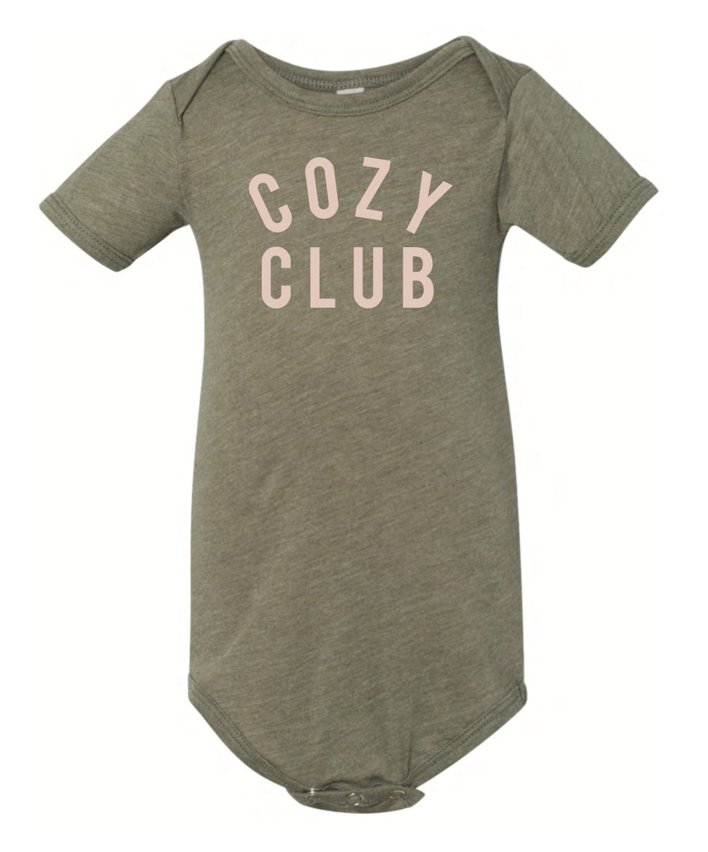 Cozy Club Mini Short Sleeve Onesie - Olive