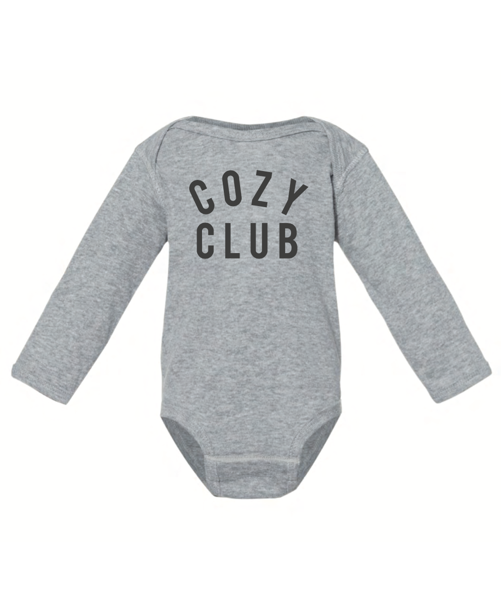 Cozy Club - Infant Long Sleeve Onesie - Grey