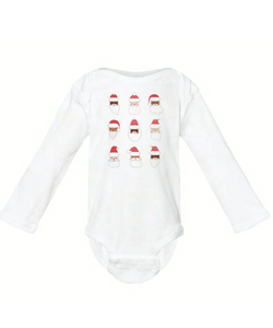 Santa - Infant Long Sleeve Onesie - White