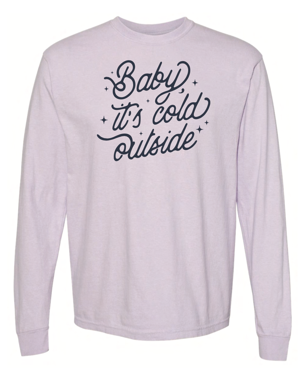Baby It's Cold Outside Adult Long Sleeve - Orchid