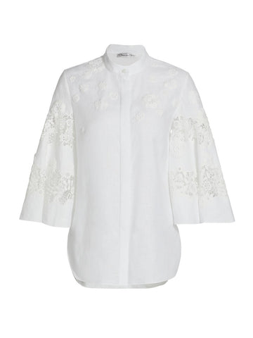 21ON708MGP Floral embroidered puff sleeve blouse