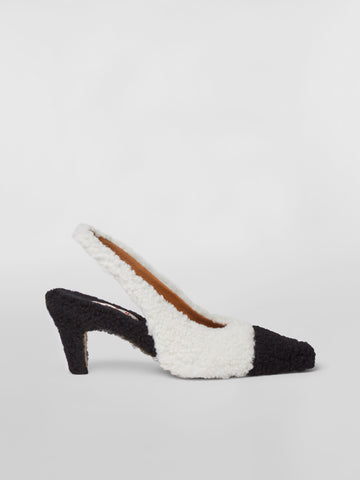CHMS002306P3583 Bicoloured shearling sling back pump