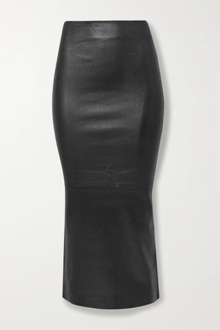SKT024L Leather midi skirt