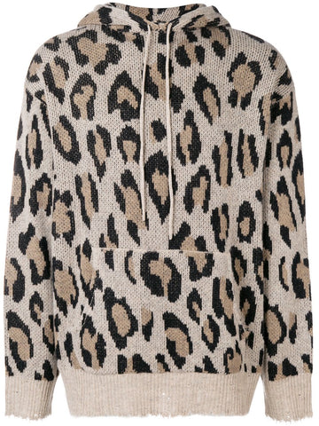 R13W366510 Leopard print knitted hoodie
