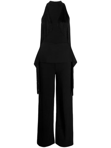 573730S2076 HIGH NECK FRINGE JUMPSUIT