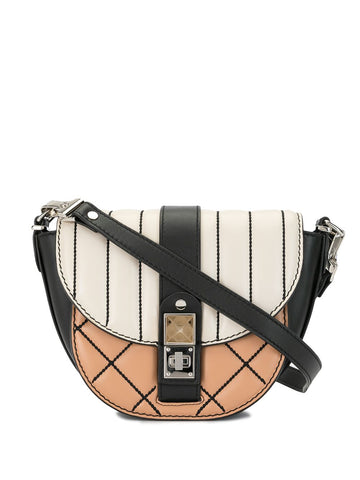 H00797 PS11 Small color block quilted saddle bag
