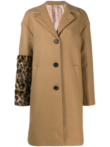 N2MN0113219 COAT WITH LEOPARD SLEEVE