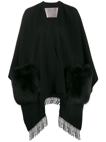 GC025DR FRINGE CAPE WITH FUR POCKETS
