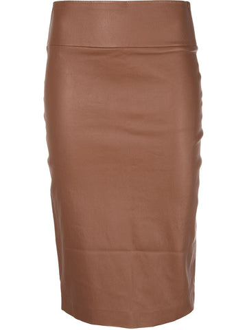 SKT013L Fitted leather pencil skirt