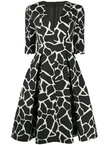 TORIN2 GIRAFE PRINT FIT AND FLARE DRESS