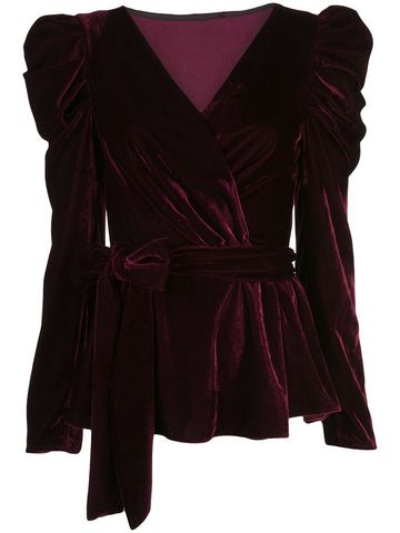 BL231US VELVET PUFF SLEEVE WRAP TOP