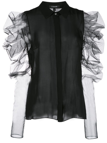 21920545 PLEAT TULLE S/S BLOUSE