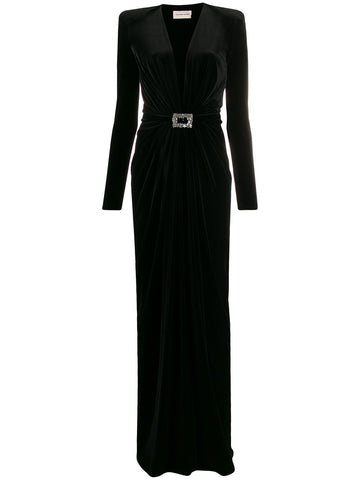 194DR1169 deep v velvet gown with crystal buckle