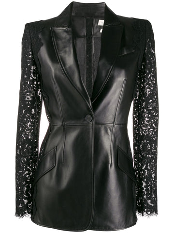 610853Q5ACZ Leather jacket with lace trim details