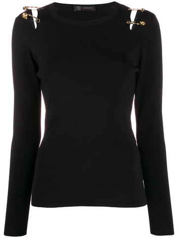A85520A233105 Long sleeve knit top with pins