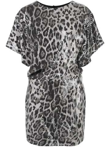 610443000019 the Julia sequin leopard mini dress