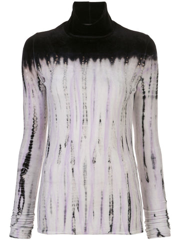 R2034033 Long sleeve velvet tie die turtleneck top