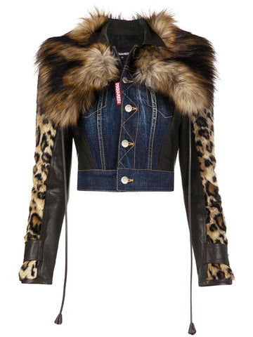 S75AM0781S30309 Leopard sleeve cropped denim jacket