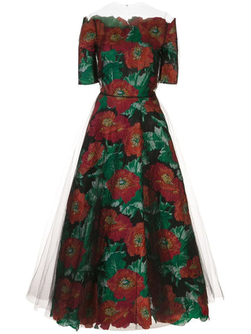 20PN6032VPEBKY Floral jacquard tulle a-line dress