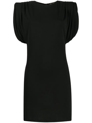 A86386A208595 black jersey draped shoulder dress
