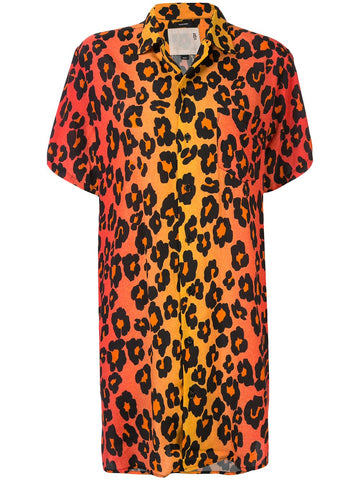 R13W7627372 leopard print skater shirt dress