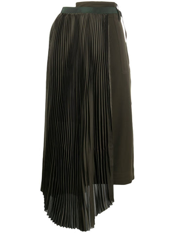 2005146 Asymmetric pleated midi skirt