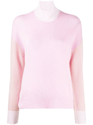 DVMD0092Q0FX385 long sleeve pink colorblock turtle neck sweater