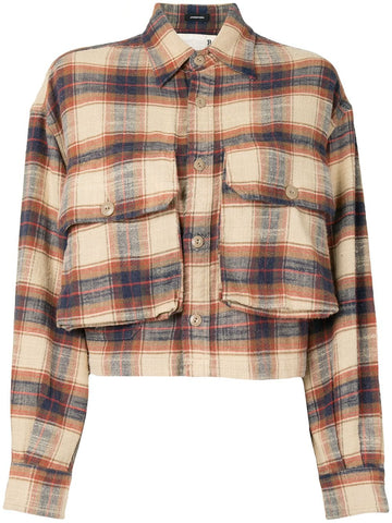 R13W775142E Oversized cropped plaid shirt