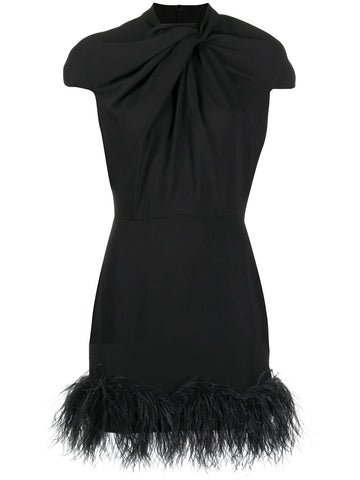 D102AW20 Kohana cap sleeve feather hem dress