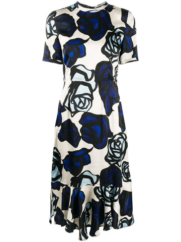 AMBA0560H0TV761 short sleeve blue floral print dress