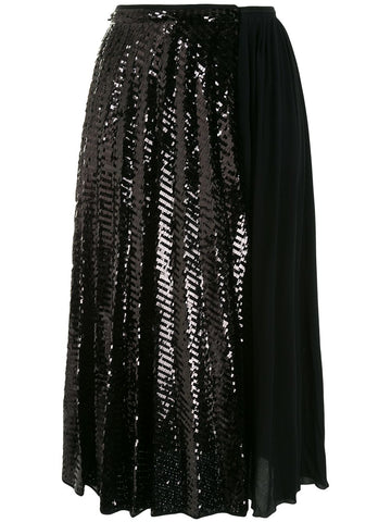 201N2P0C0714890 Sequin panel pleated skirt