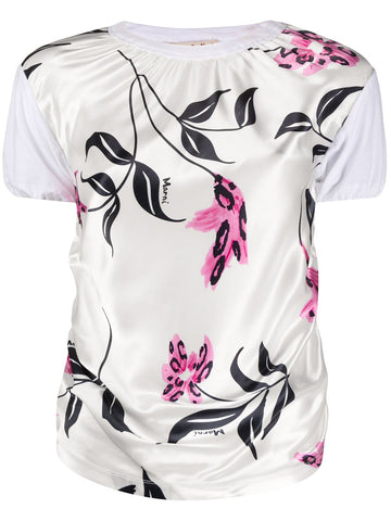 THJE0219EQTCY68 Floral print round neck tee shirt