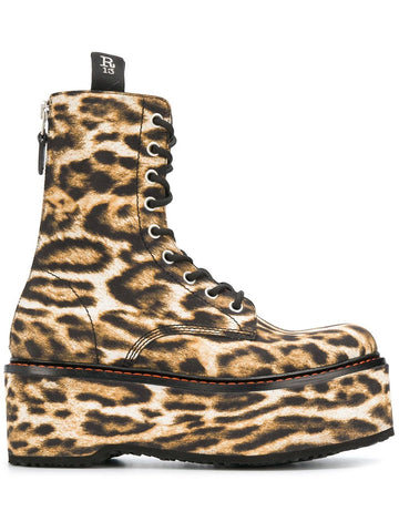 R13S00254159 Double stacked leopard print lace up boot