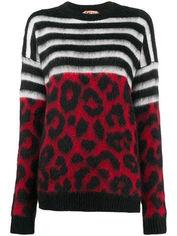 20IN2M0A0277268 Striped and leopard sweater