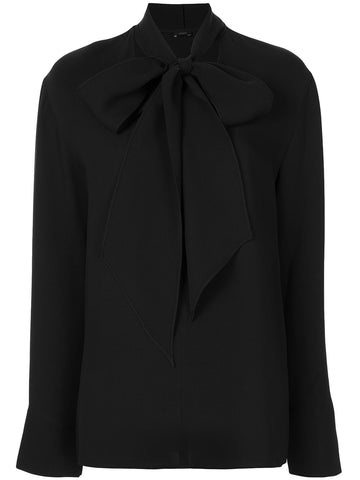 JF004935 Bethan long sleeve v neck georgette blouse with tie