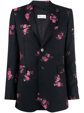 UR0CE00D5D4 Floral print gabardine single breasted blazer