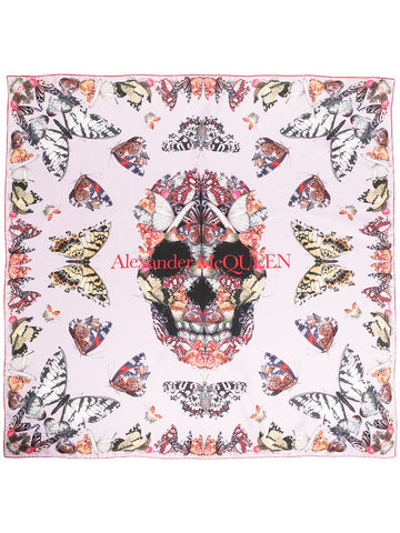 6383463001Q Skull and butterfly print scarf