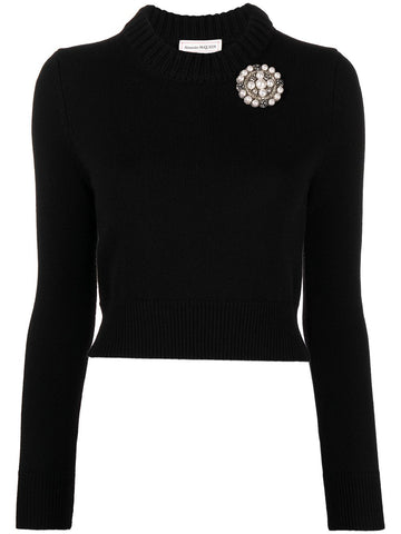 650357Q1ATF Pearl embellished cropped crew neck sweater