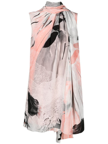 651107QZACI Sleevesless scarf a line print dress