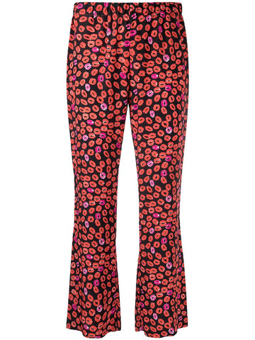 PAMA0212Q0UTSF61 Small kisses crop flare trouser