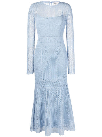 650280Q1ASF Open weave flared knit dress