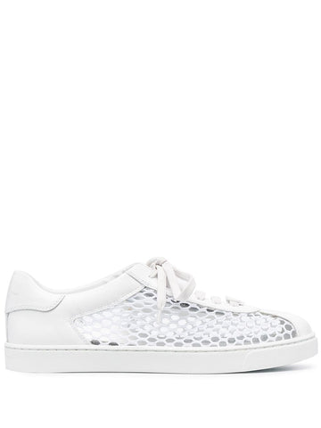 S25400W1WHT Helena mesh net and leather sneaker