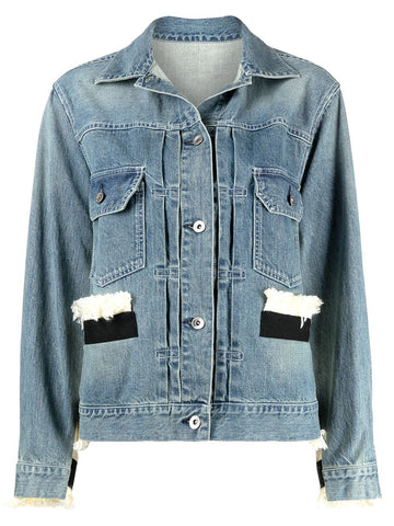 2105427 Tweed and denim blouson jacket