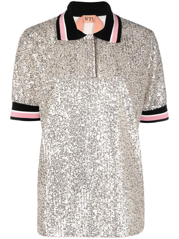 21EN2MG0814748M801 Short sleeve sequin embellished polo