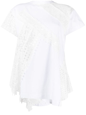 2105470 Embroidery short sleeve lace top