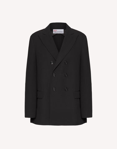 UR0CEC355DC  Double breasted jacket with back pleated detail