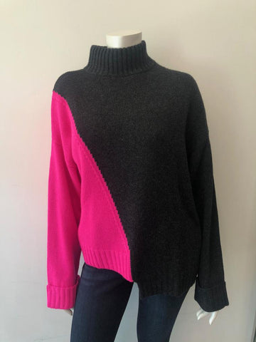 RH12036 Asymmetric color block mock sweater