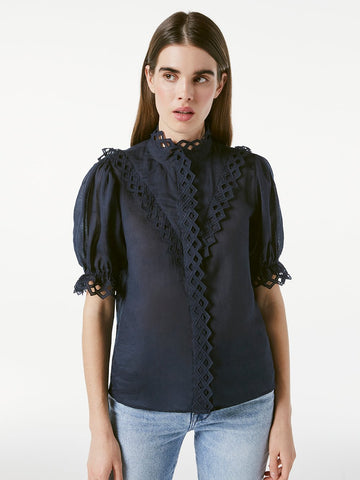 LWSH1831 Embroidered high neck short sleeve shirt