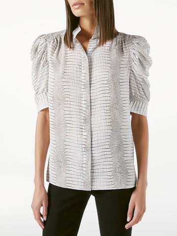 LWSH2097 Gillian button down shirt with ruched sleeves