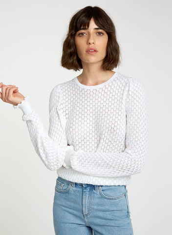 N12026 Leaf pointelle bishop sleeve crew